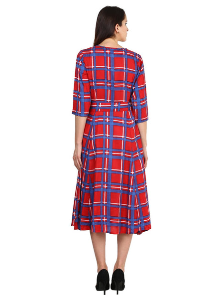Castle Red Checked Rayon Dress - Castle Lifestyle
