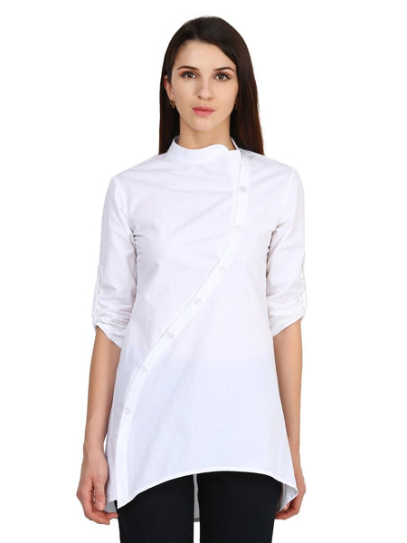 Castle White Solid Cotton Tunic