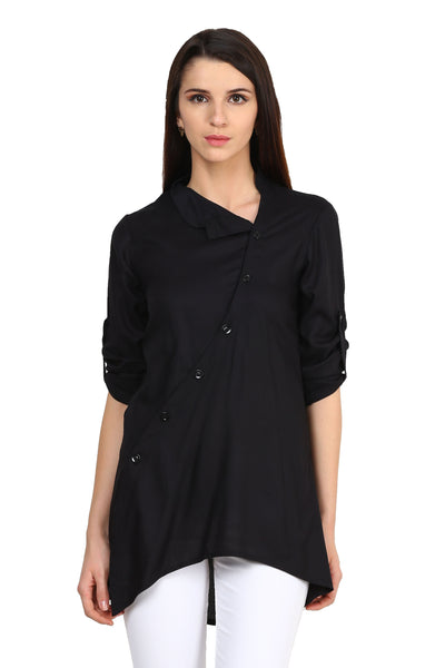 Castle Black Solid Rayon Tunic