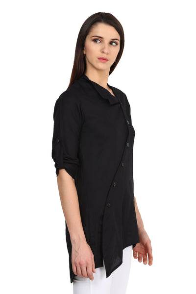 Castle Black Solid Rayon Tunic - Castle Lifestyle