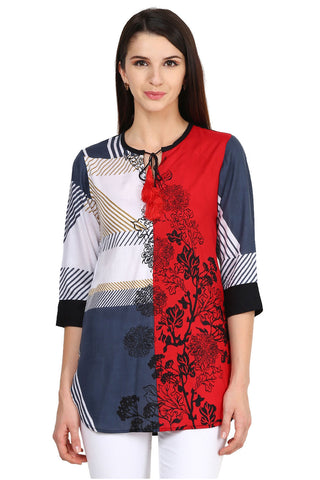 Castle Red Printed Rayon Tunic - Castle Lifestyle
