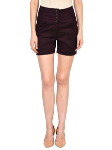 Castle Wine Solid High Waist Shorts