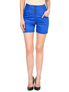 Castle Royal Blue solid High Waist Shorts