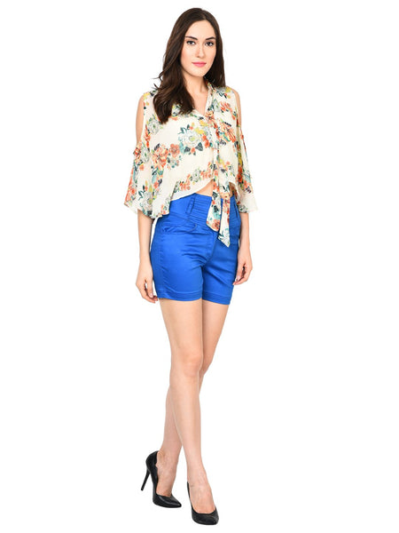 Castle Royal Blue solid High Waist Shorts - Castle Lifestyle