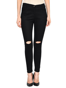 Castle Black Polyester Spandex Distressed Pants