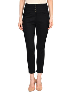 Castle Black High Waist Polyester Spandex Skinny Pants