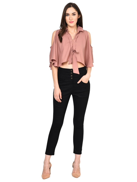 Castle Black High Waist Cotton Spandex Skinny Pants - Castle Lifestyle