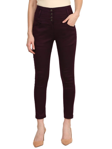 Castle Wine High Waist Polyester Spandex Skinny Pants