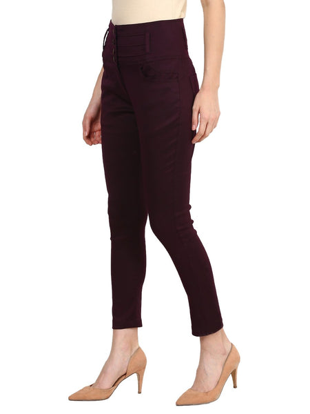 Castle Wine High Waist Cotton Spandex Skinny Pants - Castle Lifestyle