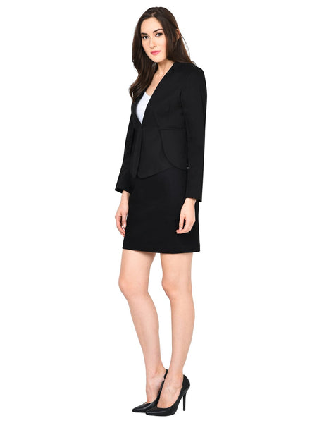 Castle Black Solid Cotton Spandex Blazer - Castle Lifestyle