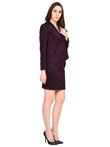 Castle Wine Solid Cotton Spandex Blazer - Castle Lifestyle
