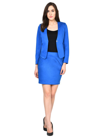 Castle Royal Blue Solid Polyester Spandex Blazer