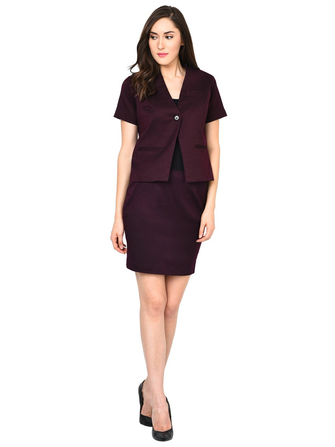 Castle Wine Solid Skirt and Coat Set