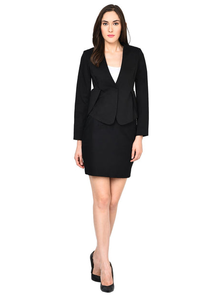 Castle Black Solid Skirt and Blazer Set