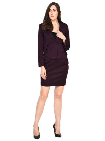 Castle Wine Solid Skirt and Blazer Set