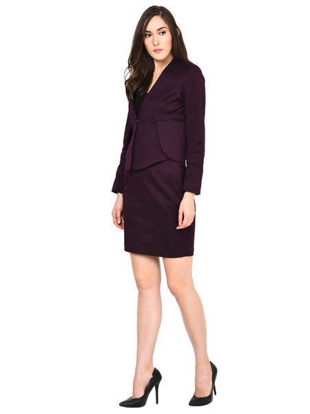 Castle Wine Solid Skirt and Blazer Set - Castle Lifestyle