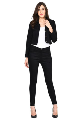 Castle Black Solid Cotton Spandex Jacket