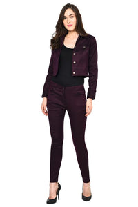 Castle Wine Solid Cotton Spandex Jacket