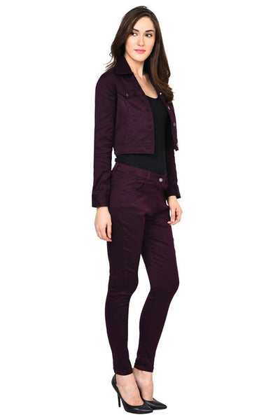 Castle Wine Solid Cotton Spandex Jacket - Castle Lifestyle