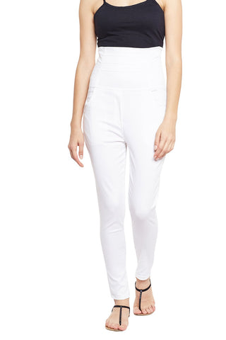Castle White High Waist Cotton Spandex Jeggings