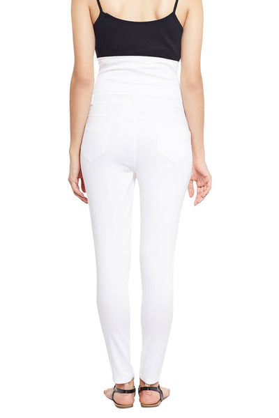 Castle White High Waist Cotton Spandex Jeggings - Castle Lifestyle