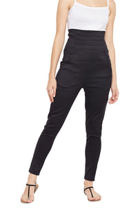 Castle Black High Waist Cotton Spandex Jeggings
