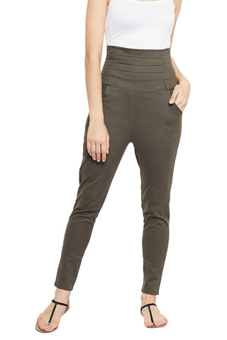 Castle Olive Green High Waist Cotton Spandex Jeggings