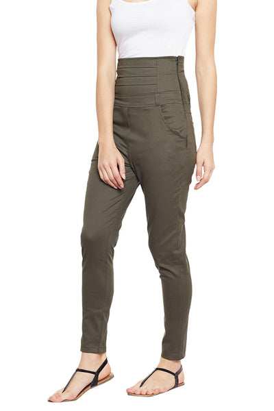 Castle Olive Green High Waist Cotton Spandex Jeggings - Castle Lifestyle