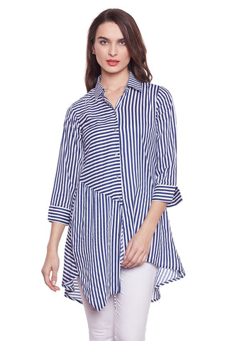 Castle Navy Blue Striped Longline Shirt