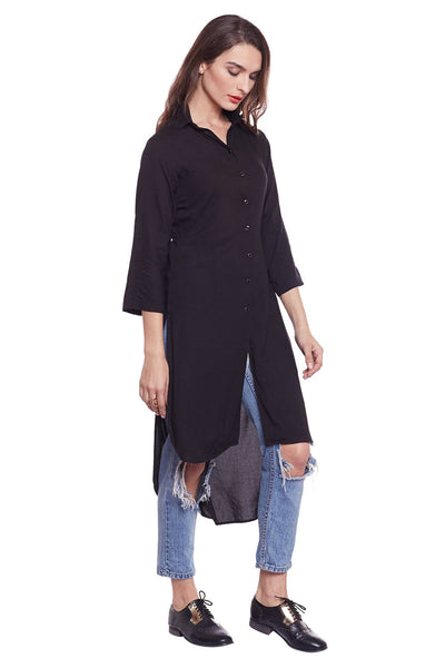 Castle Black Solid Rayon Kurta - Castle Lifestyle