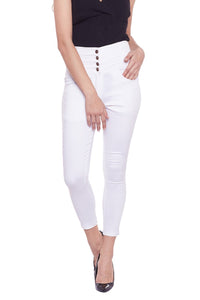 Castle White High Waist Cotton Spandex  Pants