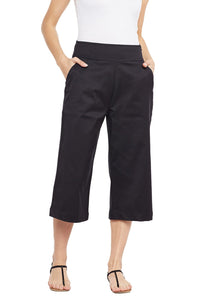 Castle Black Solid Cotton Spandex Culottes