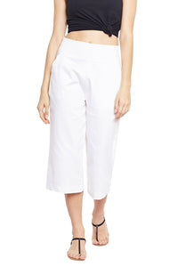 Castle White Solid Cotton Spandex Culottes