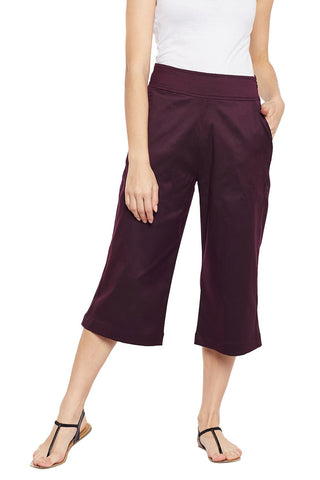 Castle Wine Solid Cotton Spandex Culottes