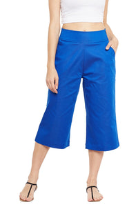 Castle Royal Blue Solid Cotton Spandex Culottes