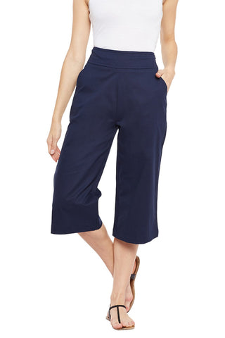 Castle Navy Blue Solid Cotton Spandex Culottes