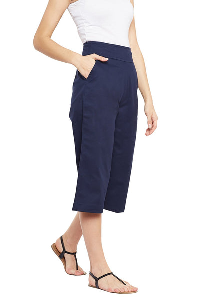 Castle Navy Blue Solid Cotton Spandex Culottes - Castle Lifestyle