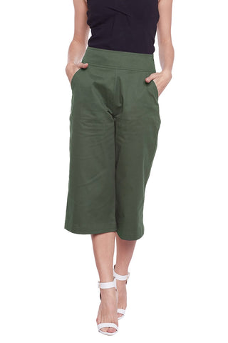 Castle Olive Green Solid Cotton Spandex Culottes