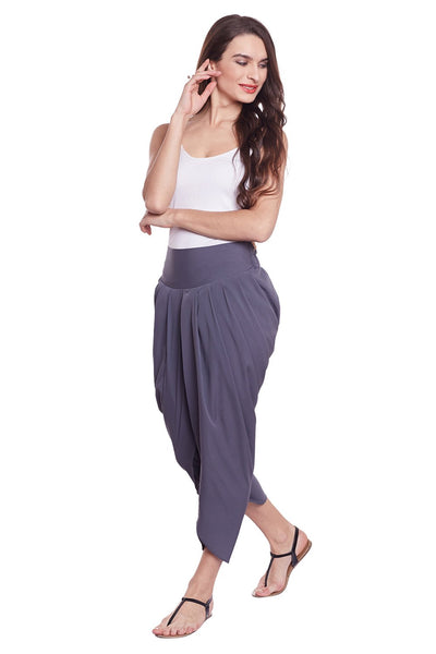Castle Grey Solid Crepe Dhoti Salwar - Castle Lifestyle