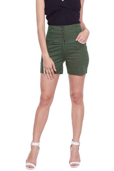 Castle Olive Green Solid High Waist Shorts