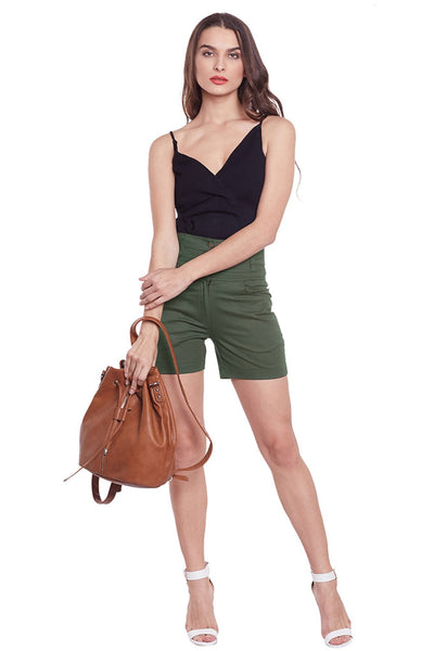 Castle Olive Green Solid High Waist Shorts - Castle Lifestyle
