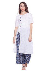 Castle White Cotton Kurta with Palazzo