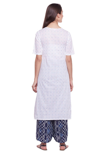 Castle White Cotton Kurta with Palazzo - Castle Lifestyle