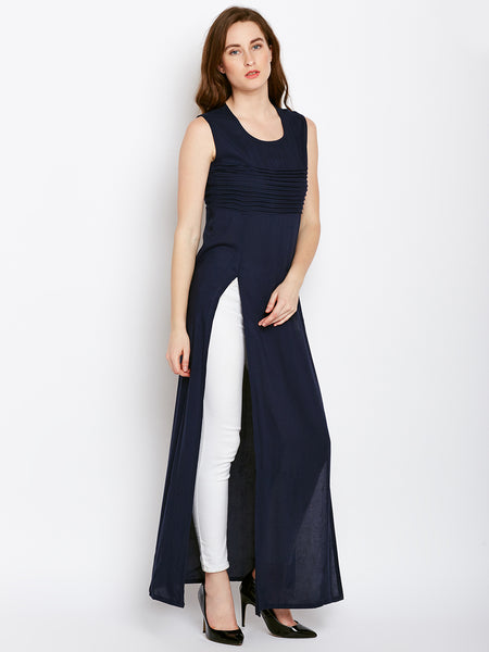 Castle Navy Blue Double Slit Rayon Kurta - Castle Lifestyle