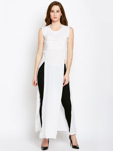 Castle Off-White Double Slit Rayon Kurta - Castle Lifestyle