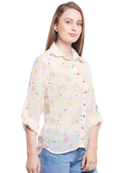 Castle Off-White Printed Georgette Shirt