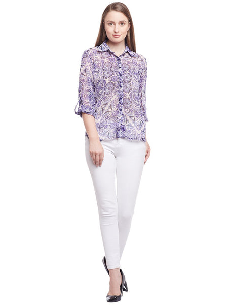 Castle Purple Printed Chiffon Shirt