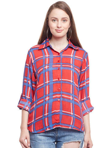 Castle Red Checked Rayon Shirt