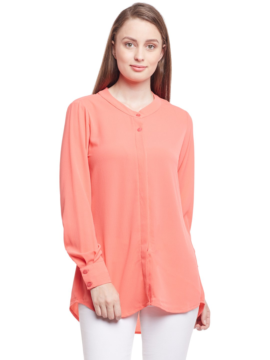 Castle Peach Bubble Georgette Shirt