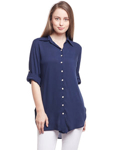 Castle Navy Blue Solid  Rayon Shirt